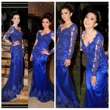 Buy Charming Royal Blue prom evening dress long sleeve 2015 Lace Mermaid Evening gown V Neck Sweep Train Formal party gown for $151.05 in AliExpress store