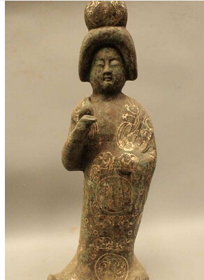 "Copper Brass CHINESE crafts decoration Asian 25"" Ancient China Chinese Dynasty Palace Bronze Silver Beautiful Maid Women Stat(China (Mainland))"