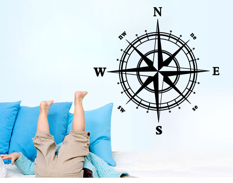 Compass Wall Art Mural Wall Decal Sticker Living Room Bedroom Specialized Wallpaper Decoration Poster Home Art Decal(China (Mainland))