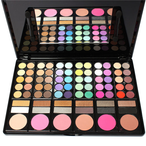 Fashion 78 Colors Pro Eyeshadow Palette Makeup Powder Cosmetic Brush Kit Box With Mirror Women Make Up Tools(China (Mainland))