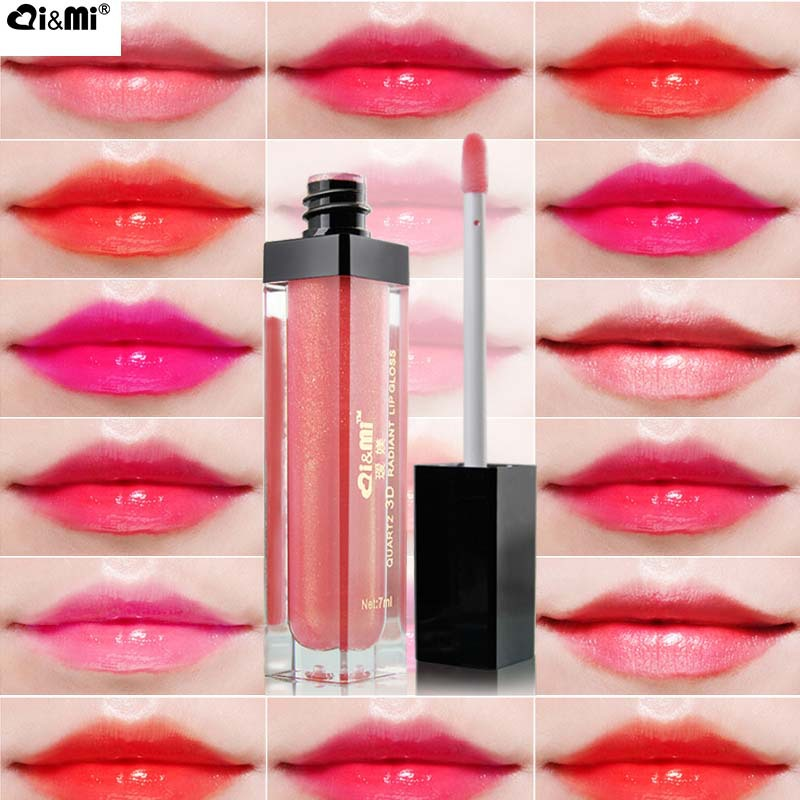 3D crystal lip gloss 7ml make-up lipstick, long lasting moisturizing nutritious LED lamp mirror