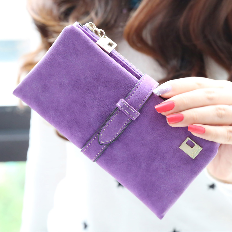 2015 New Spring Fashion Frosted Zipper Wallet Lady Long Purple Temperament Wallet Female Solid Color Purse(China (Mainland))