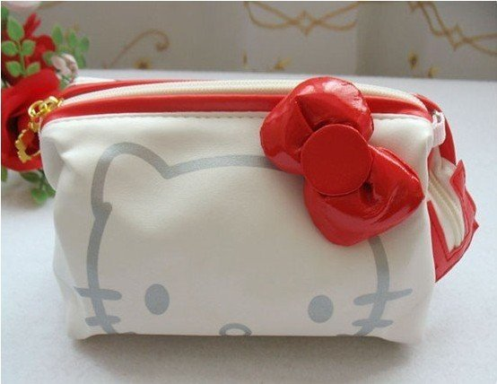 Freeshipping! hello Kitty bow Cosmetic bag / lady fashion bags / Pu leather pouch / retail(China (Mainland))