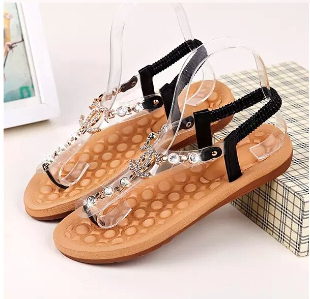 Women Sandals 2016 Channel Rhinestone Flip Gladiator Sandals And Comfortable Apartment Party