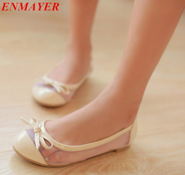 ENMAYER  2015 NEW Summer flats shoes Basic Closed Toe flats shoes Round Toe Slip-On Solid Cut-Outs Casual ladies flat shoes<br><br>Aliexpress