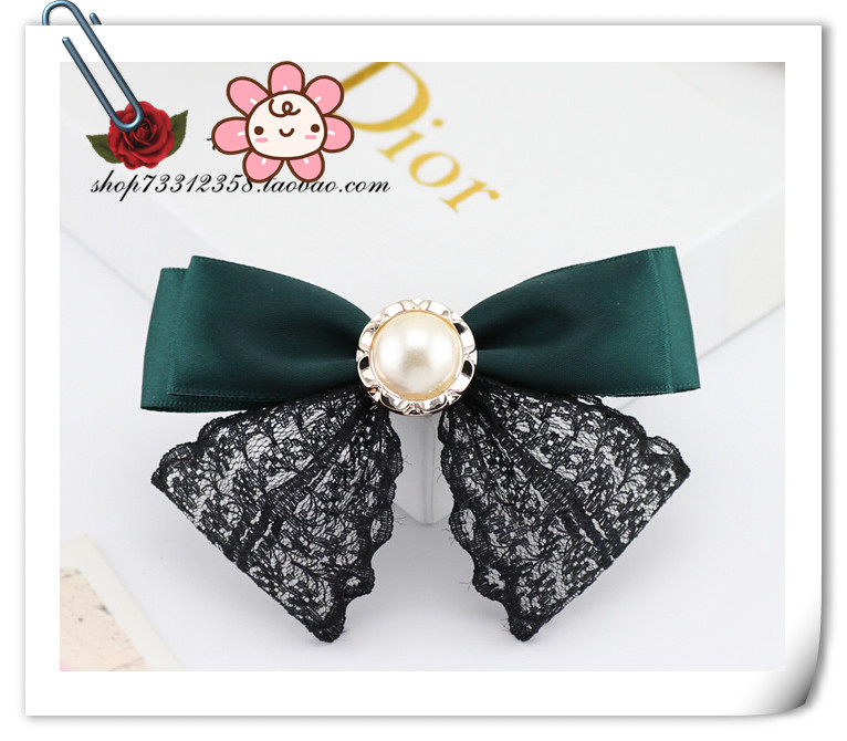 vintage Pearl lady bow classic bowknot Black lace bow green color hair accessories for woman hairpins(China (Mainland))
