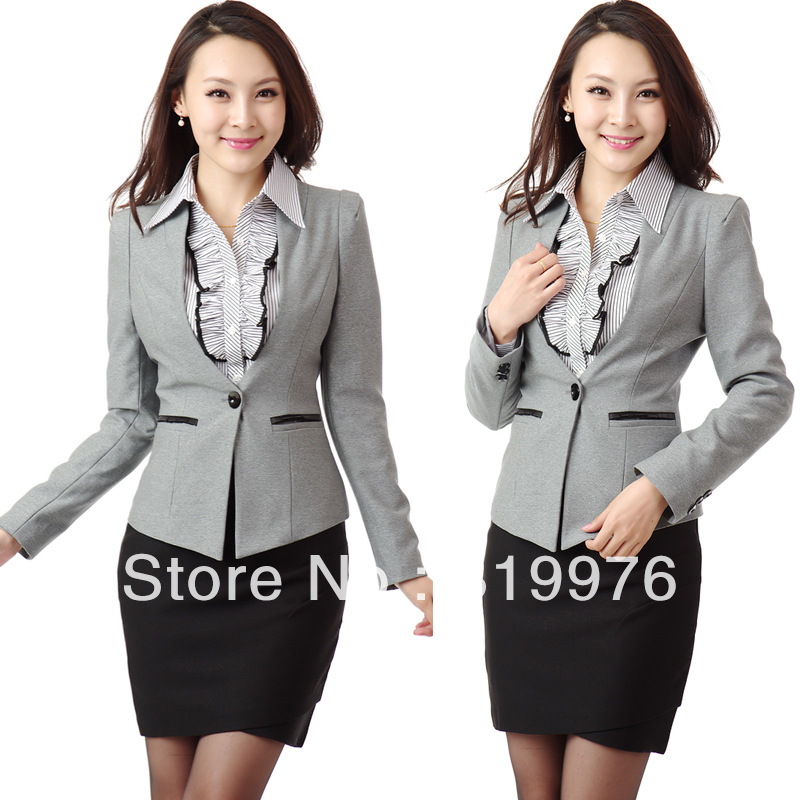 Office uniform design free shipping professional women for Office design uniform