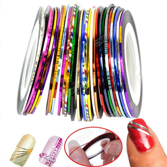 10PCS Mxied Colors Rolls Striping Line Nail Stick Art DIY Stickers & Decals Nail Sticker Beauty Nail Stencil produtos de beleza(China (Mainland))