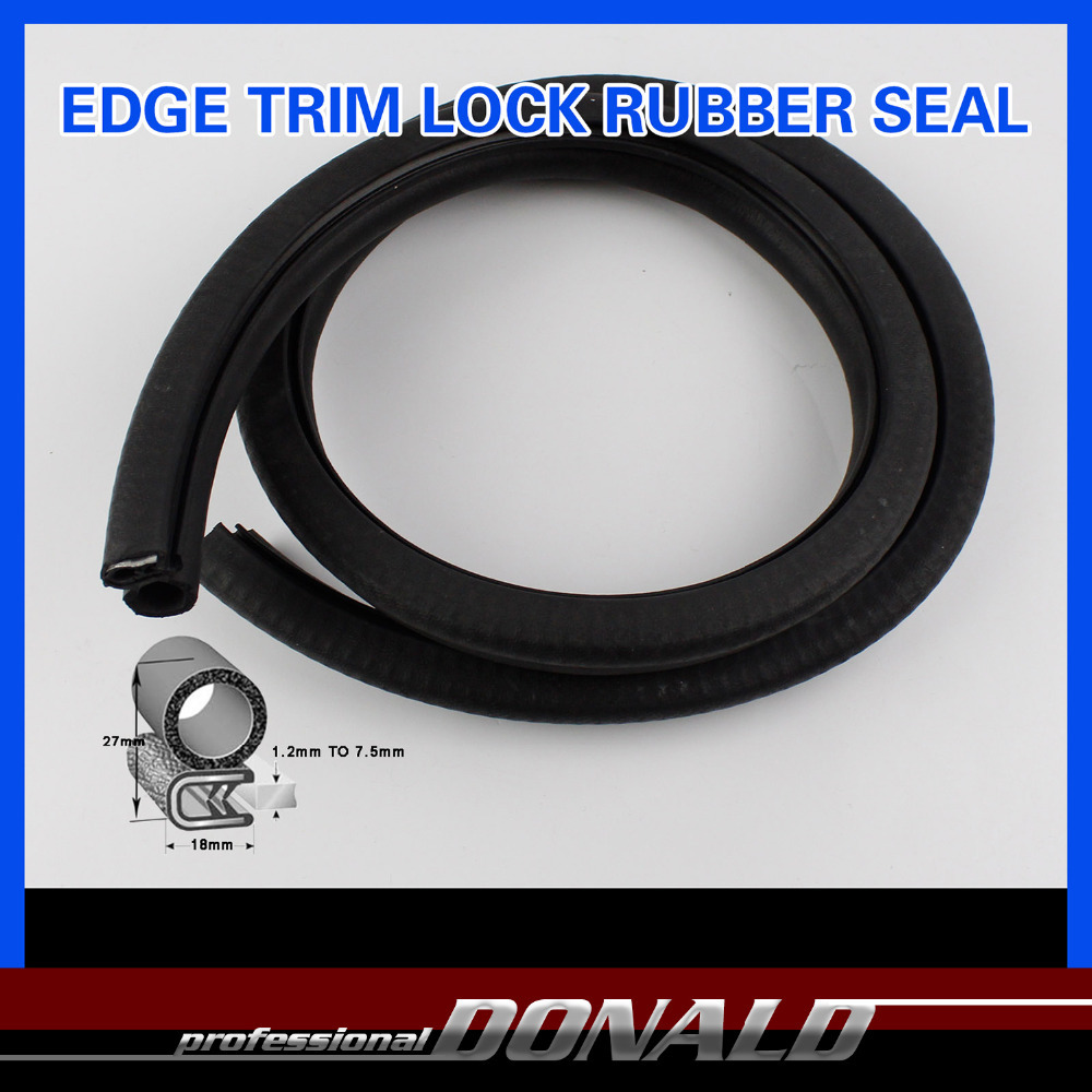 "18mmx27mm BLACK Flexible Gripping Car Jumbo Truck Window Door Rubber Seal Lok RV Camper Trailer Edge Trim 80"" 2Metres #05(China (Mainland))"