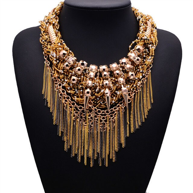 2015 NEW ZA Big Brand Statement Shourouk Vintgae Tassel Fashion Clain NecklaceCollar Bib Necklaces Pendants Jewelry