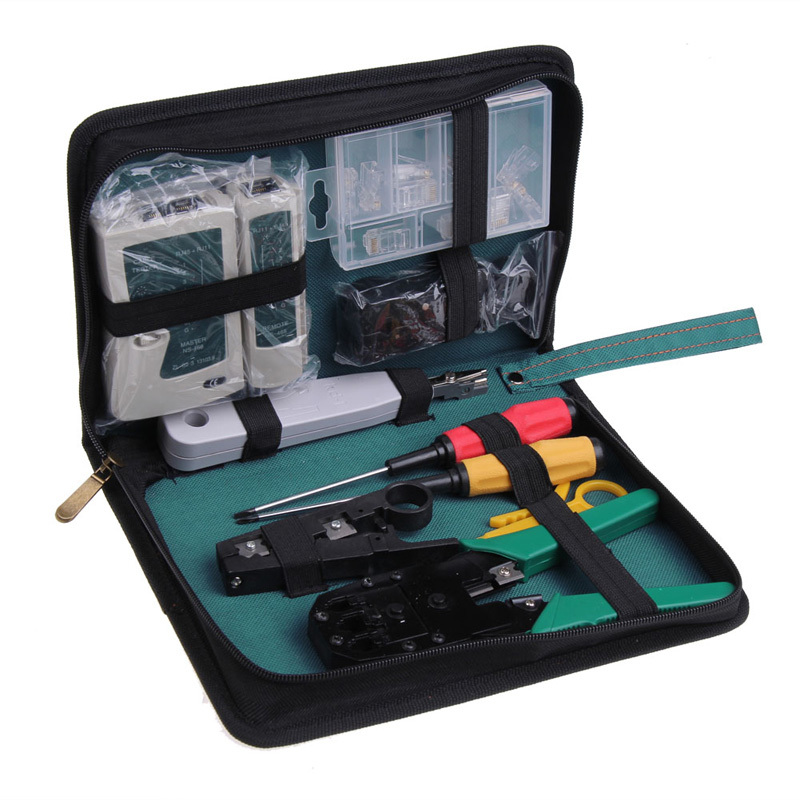 11 in 1 Professional Network Computer Maintenance Repair Tool Kit Cross/Flat Screwdriver Crimping Pliers etc Free Shipping(China (Mainland))