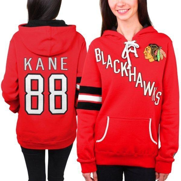 Cheap 2015 Old Time Womens Hockey Jerseys Chicago Blackhawks #88 Patrick Kane Red Ladies Fleece Hoodie Jerseys Winter Jacket