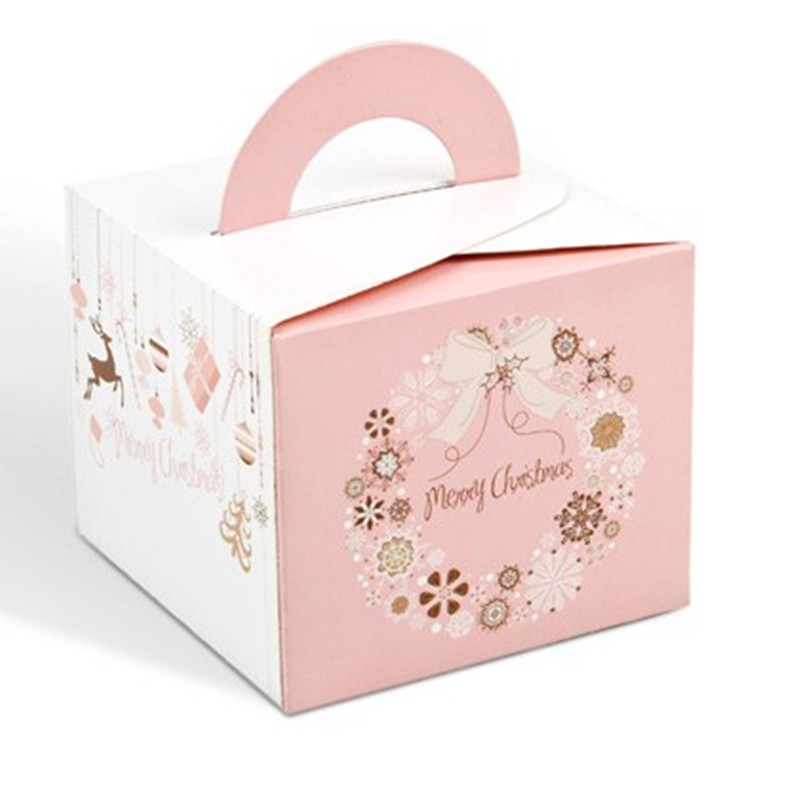 Pink Christmas Box Cake Box Cheese Cookie Cake Boxes Christmas Food Gift Packaging Cardboard Paper Boxes and Packaging(China (Mainland))