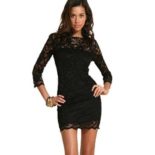 New Summer Women's Sexy Long sleeve Black Lace Slim Bodycon Formal Cocktail Party Dresses 2016 Fashion(China (Mainland))