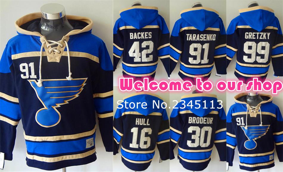 Top Quality St. Louis Blues Hoodie Pullover 42 David Backes 99 Wayne Gretzky Hoody 91Vladimir Tarasenko Hockey Hoodie Sweatshirt(China (Mainland))