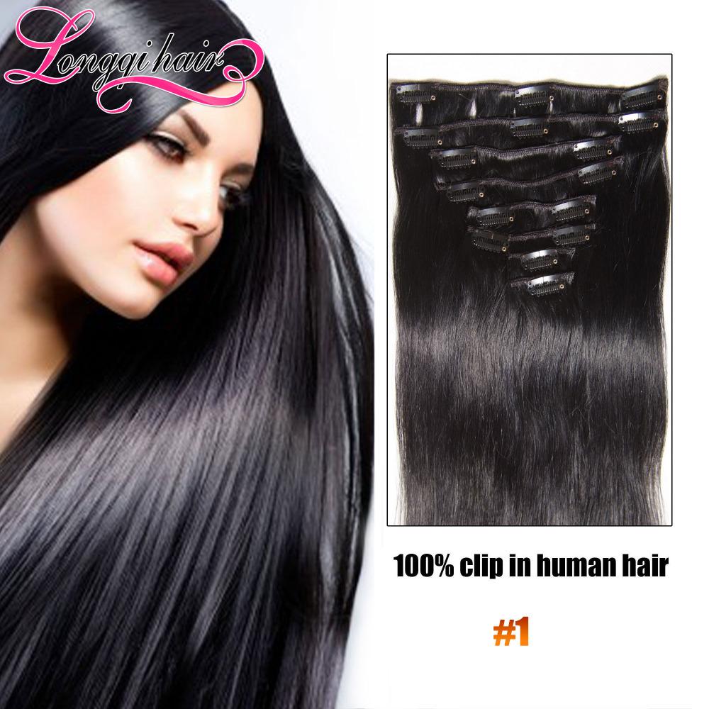 2015 best selling black1# malaysian virgin clip in human hair extensions remy hair full head longqi 100%malaysia virgin hair<br><br>Aliexpress