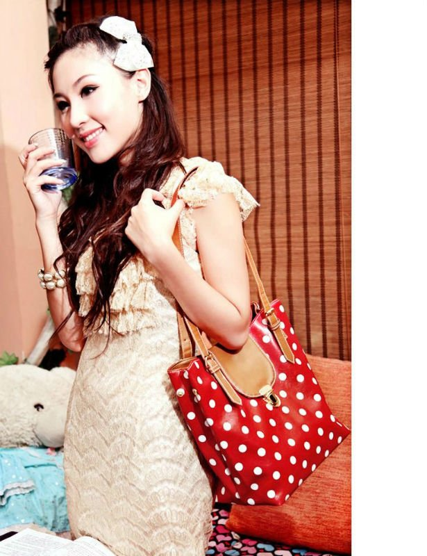 Free shipping 10pcs lot ladies fashion shoulder bag dot picture bag for women wholesale and retail