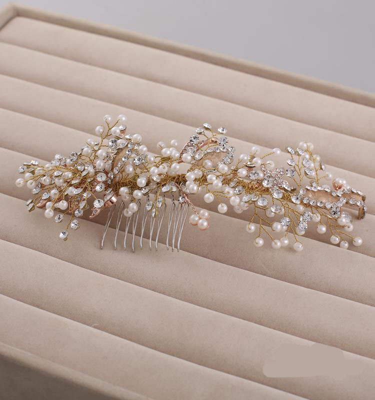 Luxury bridal hair combs gold tiara crystal pearl fashion women's head decoration wedding hair jewlry wedding hair accessories