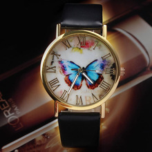 2015 New Lady Womens Fashion Butterfly Style Leather Band Analog Quartz Wrist Watch Gift Dave