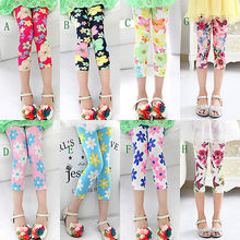 Age 3-10Years Children Clothing Girls Pants Summer 2016 New Flowers Butterfly Print Leggings Kids Trousers Capris