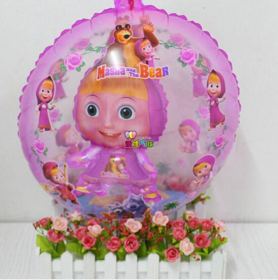 New 10pcs 18inch ball in ball Masha&Bear foil balloon Martha air globos birthday party cartoon helium ballons girl gifs globos(China (Mainland))