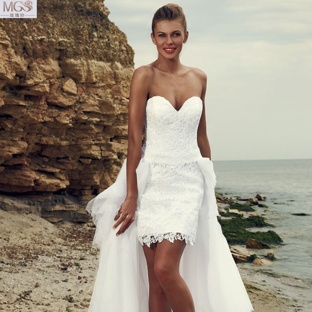 Sexy white 2016 short beach wedding dresses lace for Short wedding dress with removable train