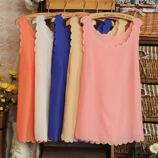 Summer fashion all-match candy color chiffon yarn vest female petals scalloped basic small vest