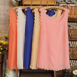 Summer fashion all-match candy color chiffon yarn vest female petals scalloped basic small vest