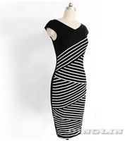Sexy Ladies Womens Dresses V-Neck Cap Sleeve Striped Bandage Office Work Dress Party Bodycon Summer Vestidos Free Shipping 1525