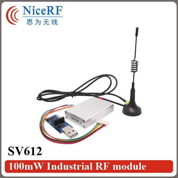 2sets/lot 915MHz TTL Interface 1400m 100mW Industrial RF module SV612+Sucker antenna + USB bridge board(China (Mainland))