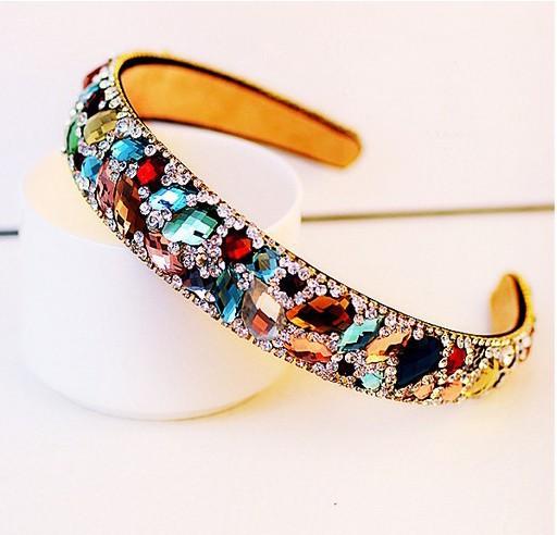 Free Shipping 2015 New Korean Hair Accessories Luxury Colorful Crystal Hairbands Rhinestone Headbands For Women Hair Jewelry(China (Mainland))