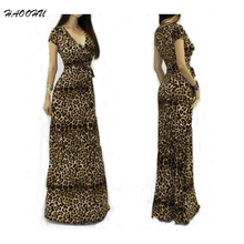 2015 Summer style Women Nightclub dresses vestidos Sexy V-neck short sleeve Maxi dress Leopard Package Hip long dress 950 DX