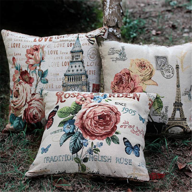 3pcs/lot Flower Eiffel Tower Paris American Vintage Style Sofa Cushion Covers Set Pillow Cases Wholesale Promotion Home Decor(China (Mainland))