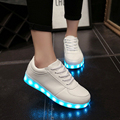 Free Shipping New Fashion Fluorescent Woman Casual Shoes Lace Up Concise USB Charging Light Shoes Black