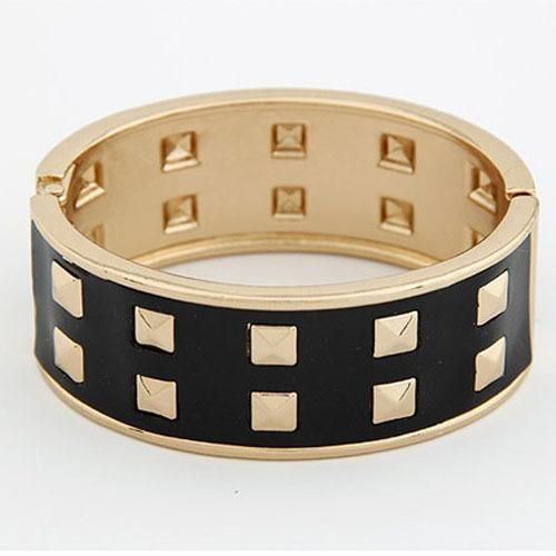 New Arrival Fashion Metal Double Row Rivet Punk Silver/White/Black/Leopard Grain Silver/Leopard Grain Gold Bracelets For Women(China (Mainland))