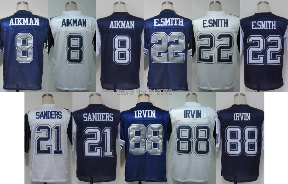 Dallas Men's Authentic Throwback #8 Troy Aikman #21 Deion Sanders #22 Emmitt Smith #88 Michael Irvin Football Jersey(China (Mainland))