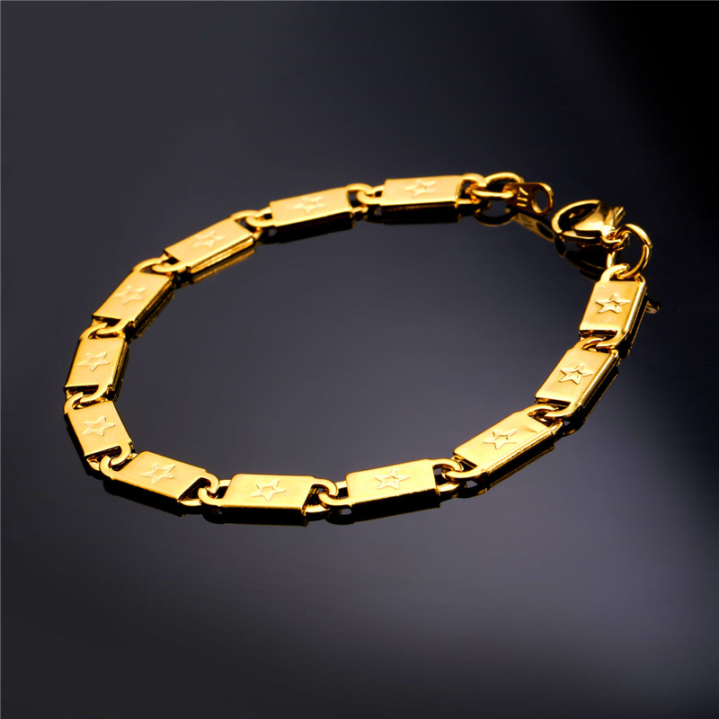 Rock Star Hand Chain Gold Bracelet For Men Fashion Jewelry 316L Stainless Steel/18K Real Gold Plated Bracelets 2016 New GH1861(China (Mainland))