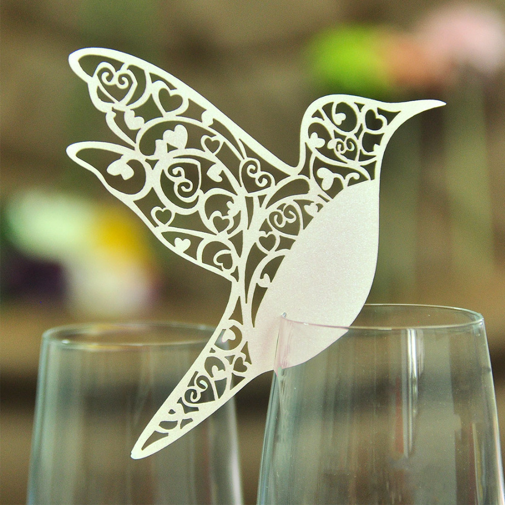 50pcs/lot White Bird Place Laser Cut Cards Escort Wine Glass Paper Cup Card Home Table Wedding Party Name Cards Decorations(China (Mainland))