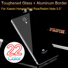 Toughened Glass Back Cover And Aluminum Frame For XIAOMI Redmi Red Rice/Hongmi Note Luxury Mobile Phone Battery Cover Shell