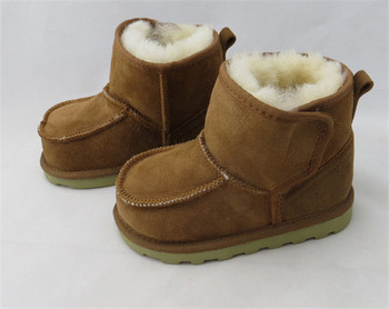 2015 New Children Snow Boots Kids Winter Shoes Girls Boys Shoes Warm Boots Real Goat Fur Baby Shoes