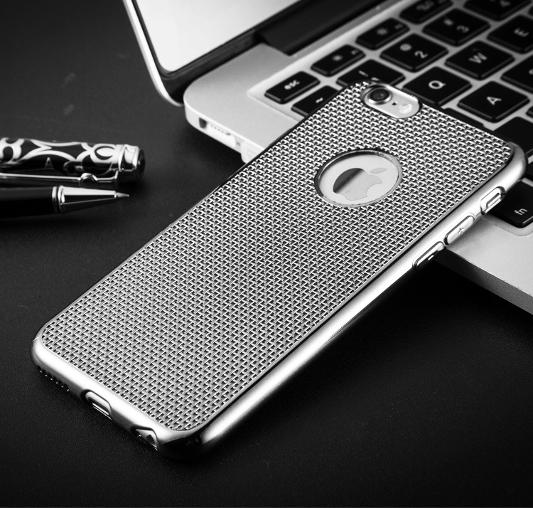 New Arrival! Luxury Electroplating Breathable Mesh cell phone cases for iphone 6 6s 6plus 6splus Soft TPU Radiating back covers(China (Mainland))