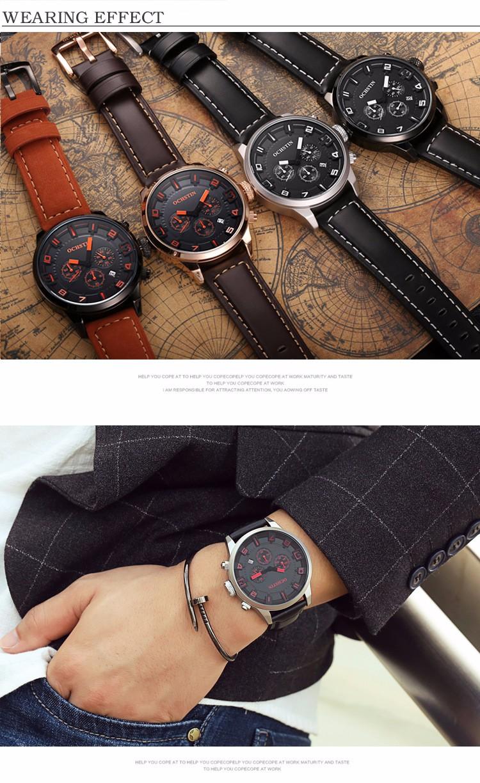 2016 Мужские Часы Класса Люкс Лучший Бренд бизнес Мужчины Часы Кварцевые Наручные Часы Досуга Моды ремень из натуральной Кожи кварцевые часы