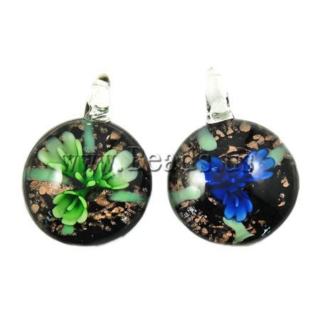 Free shipping!!! 12PC/Lot Clearance jewelry amethyst pendant Coin Inner Flower Lampwork glass pendenti giada cinese Pendants(China (Mainland))