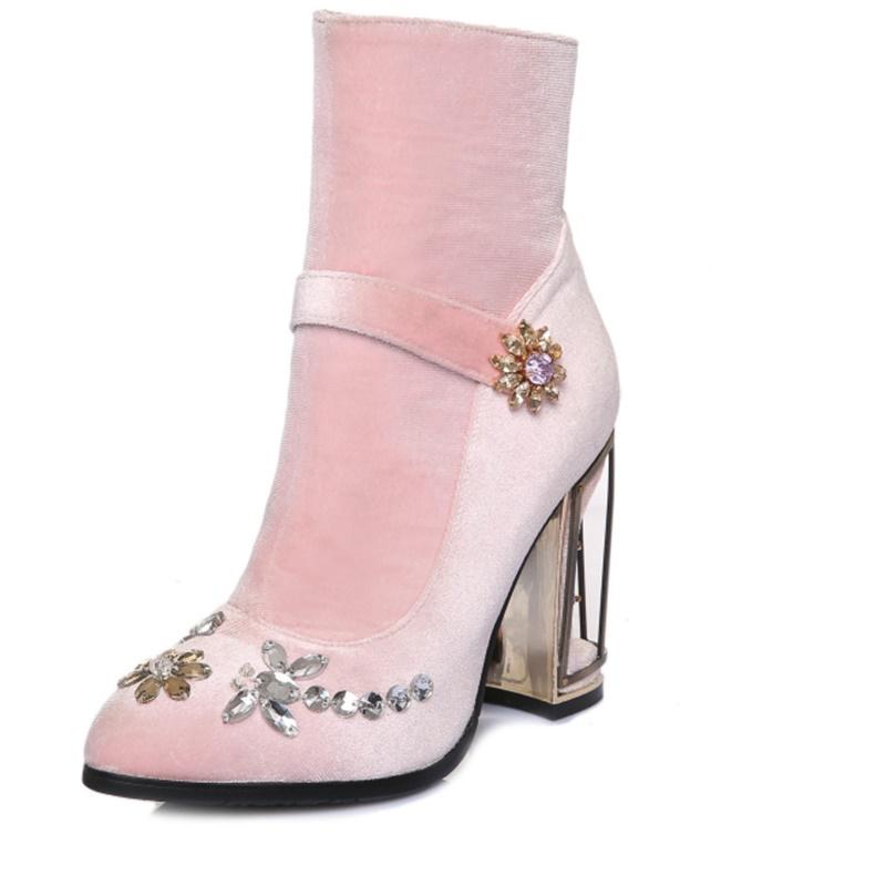 Фотография Rhinestone Fretwork Heels 10 cm ladies women shoes Rhinestone ankle boots Nubuck flock leather Pointed Toe woman party shoes