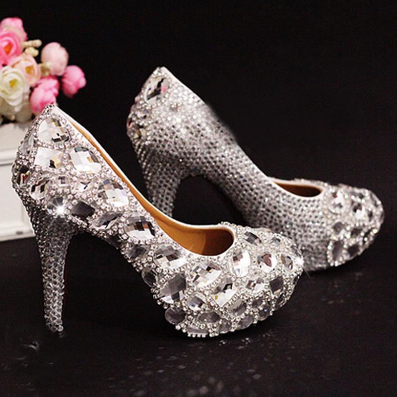 unique sparkling wedding bridal shoes high
