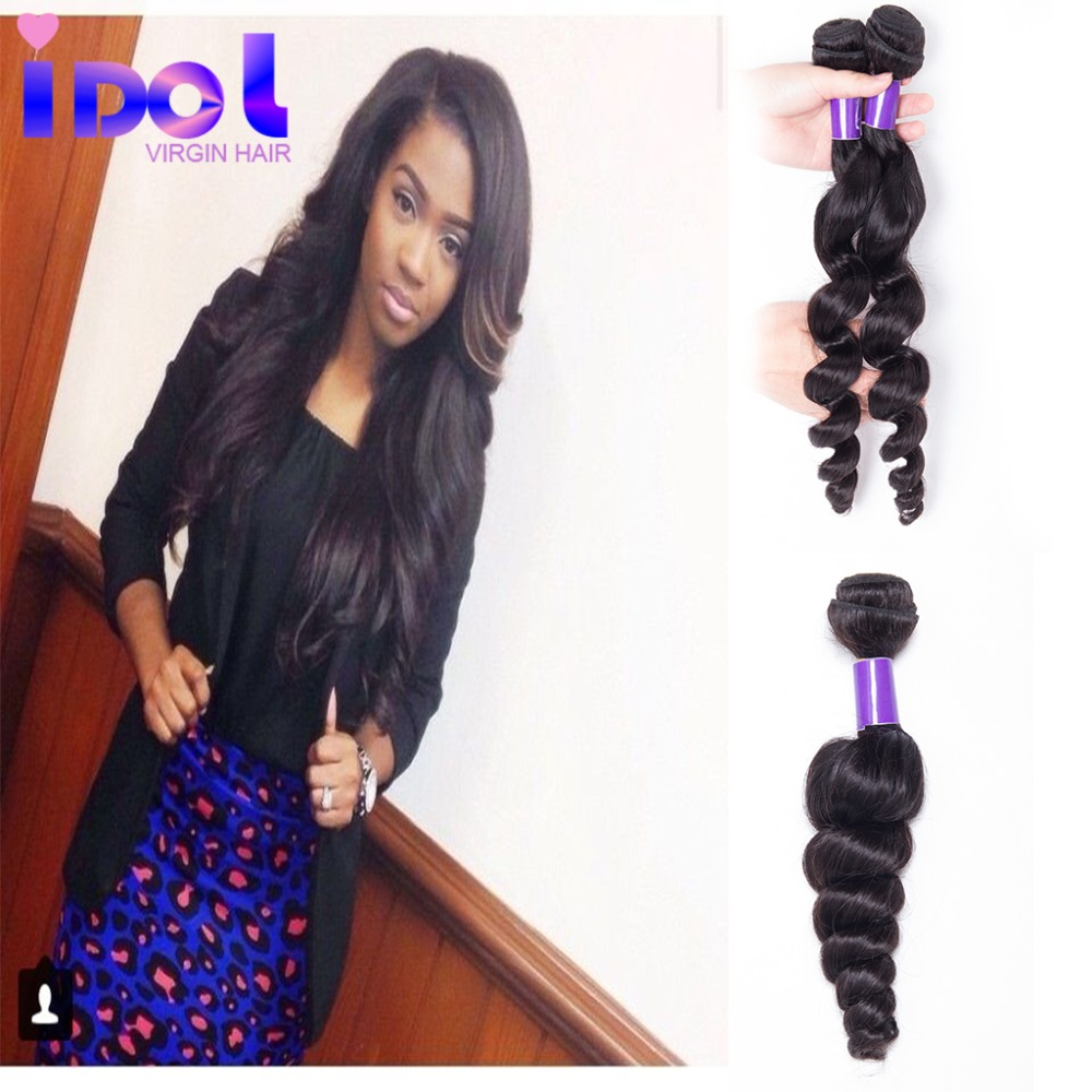 Human Hair 4pcs Peruvian Loose Wave 6A Unprocessed Peruvian Virgin Hair Weave Peruvian Loose Wave Virgin Hair Human Hair Bundles