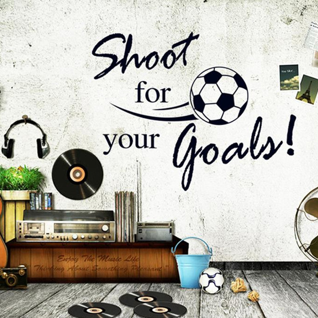 & shoot for your goals quotes football wall stickers for kids rooms living room boy's bedroom decor wall art decals gift poster(China (Mainland))