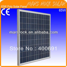 65W 18V Poly Photovoltaic Solar Panel Module with Aluminum Alloy Frame, 3.2mm Tempered Glass, 36 A Grade Solar Cells, Promotion(China (Mainland))