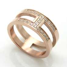 2015 New Arrival Stainless Steel Ring Classic H Letter Wedding Ring With Austrian Crystals Mosaic AAA