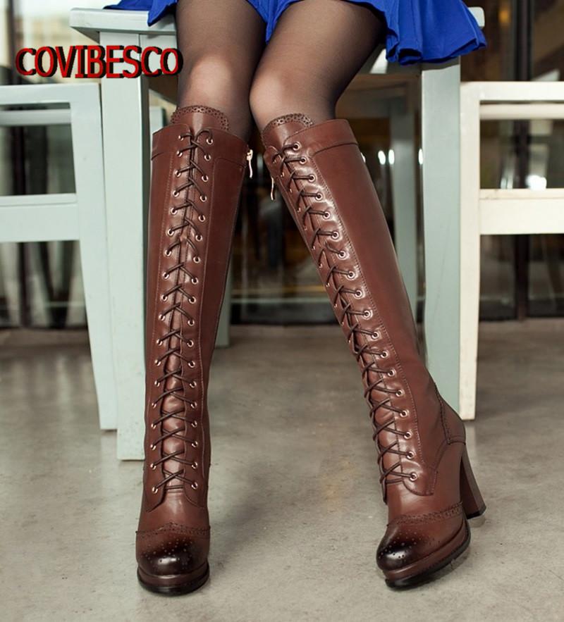Plus size,Women winter fashion lace genuine leather boots soft high heels knee sheepskin motorcycle - COVIBESCO Ltd's store